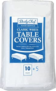 Daily Chef, 3-Ply Tissue Paper Table Covers, White, Pack of 15
