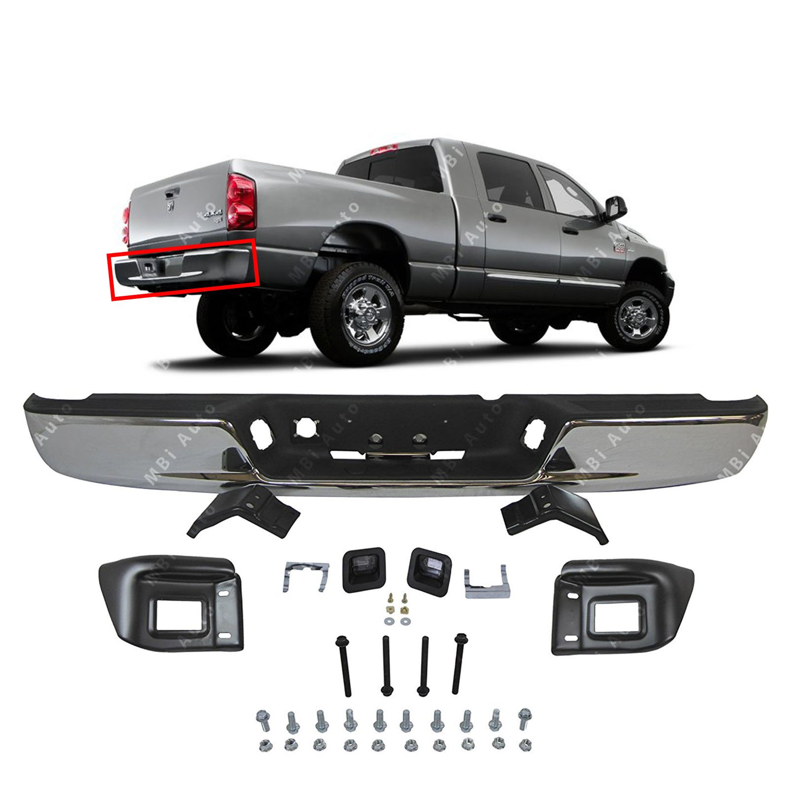 MBI AUTO - Chrome Steel, Rear Bumper Assembly for 2004-2008 Dodge RAM 1500 & 2004-2009 Dodge RAM 2500 3500 Pickup, CH1103111 by MBI AUTO
