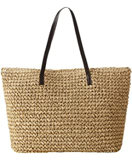 Amazon.com: Moroccan Straw Beach Tote w/Leather Handles & Strips ...