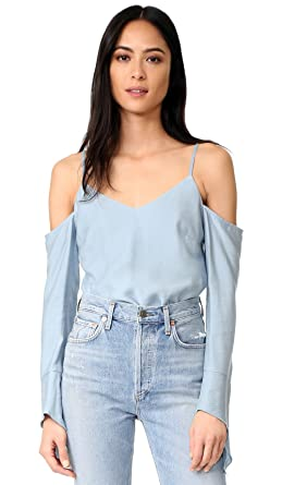 aa2911b17fab Amazon.com  Fred and Sibel Blue Women s V-Neck Off Shoulder Vacation ...
