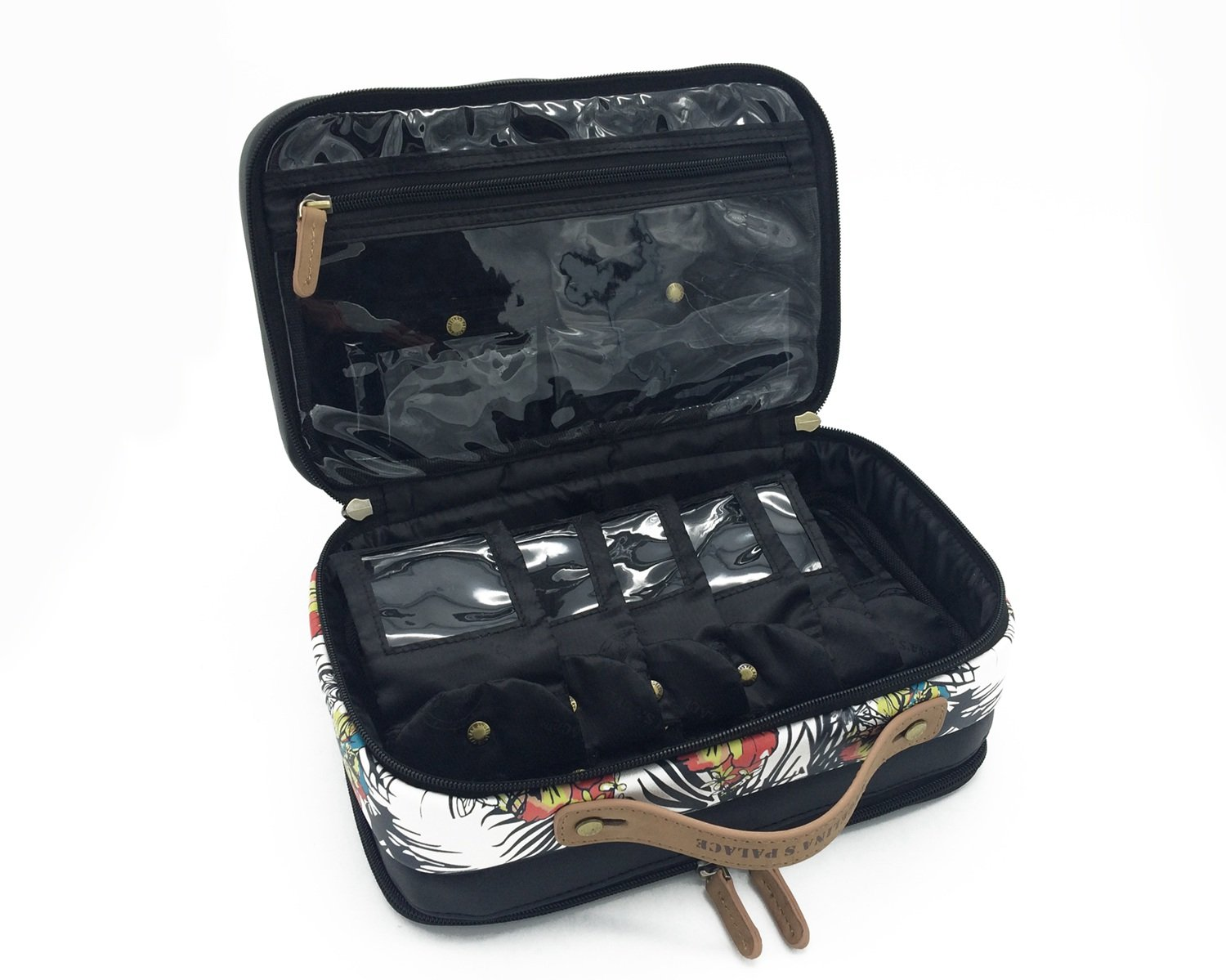 Angelina's Palace Jewelry Oragnizer Beynac Large Jewelry Case Travel Organizer Big Capacity Detachable Holders and Snapped Pouches (Lost in Paradise)