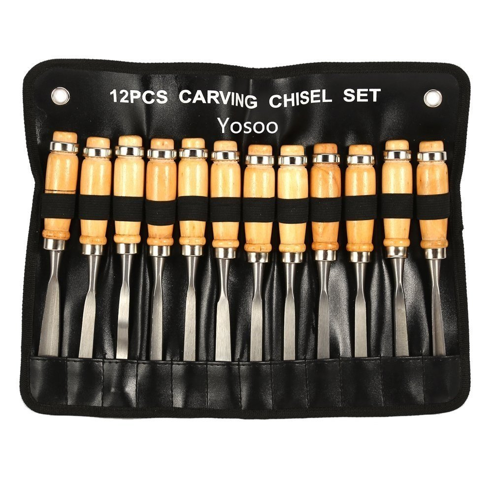 12Pcs Wood Carving Hand Chisel Tool Set in Storage Pouch, Professional Woodworking / Carpentry Gouges Wood Carving Chisels with Wood Handles