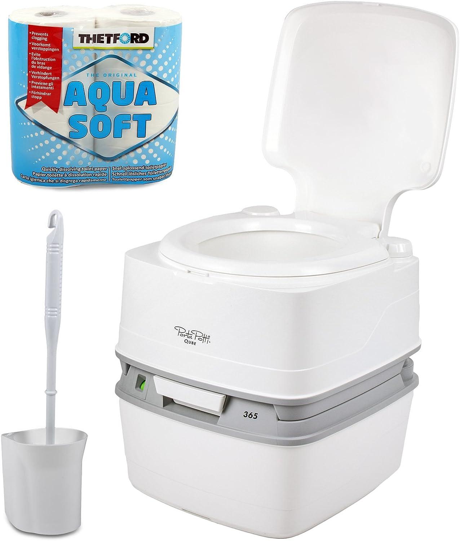 Thetford Porta-Potti Qube 365 - Inodoro para Camping (21 L, con Asiento de Altura Natural, química para el Inodoro, escobilla Fiamma, Aquasoft)