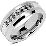 100S JEWELRY 8mm Men's Tungsten Ring Black Cz Inlay Wedding Band Titanium Color Size 8-16