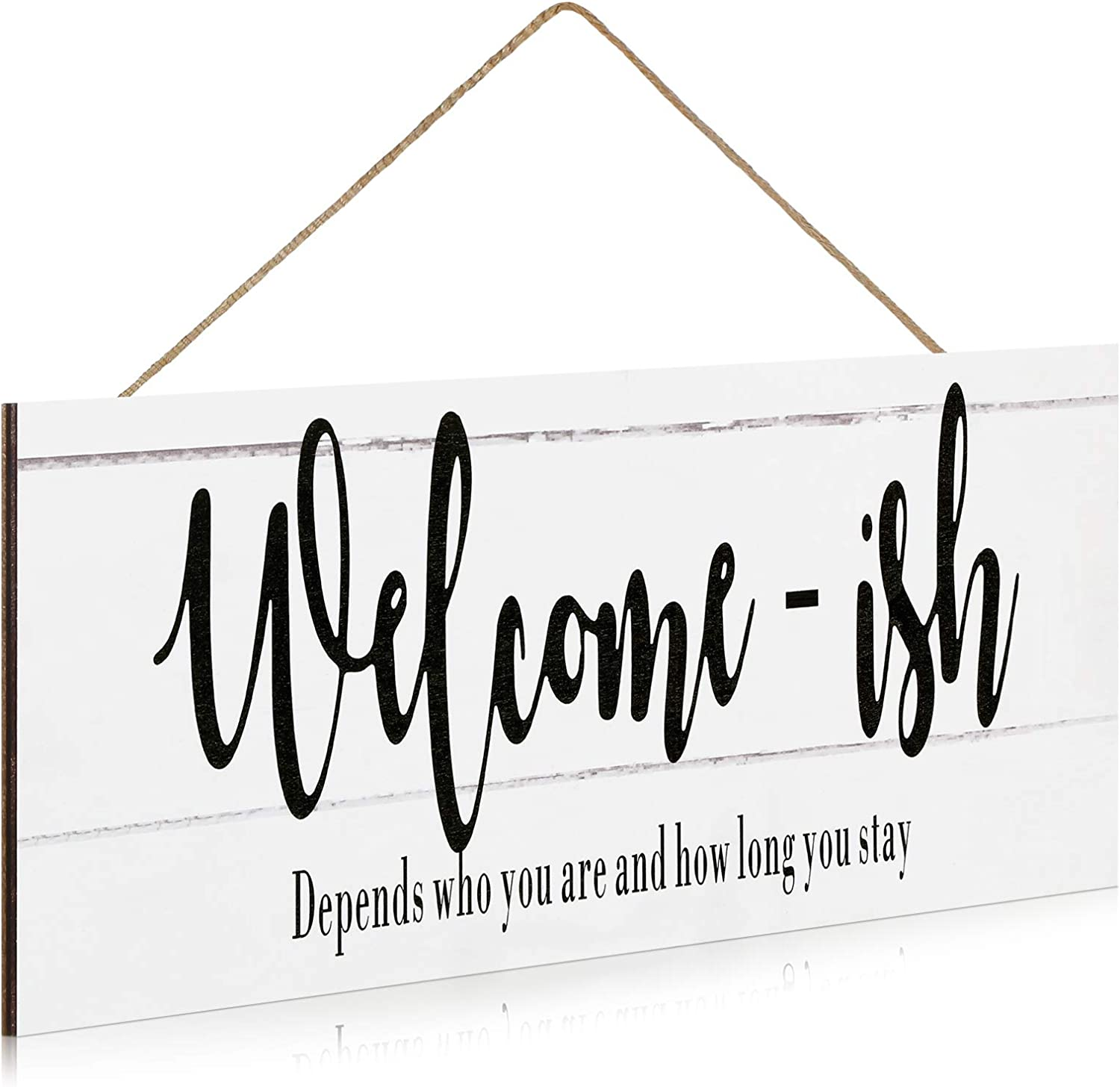 Chunful Elegant Cute Signs Welcome Sign for Front Door Funny Welcome-ish Hanging Wooden Plaque Decoration Rustic Wood Farmhouse Home Decor Porch or Entryway Accent, 15.7 x 5.5 Inch