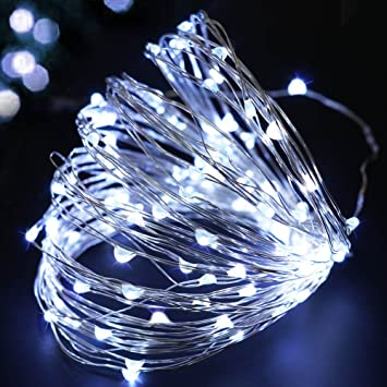 Amazon bright zeal 33 ft cool white led battery operated bright zeal 33 ft cool white led battery operated string lights for garland 6hr mozeypictures Images
