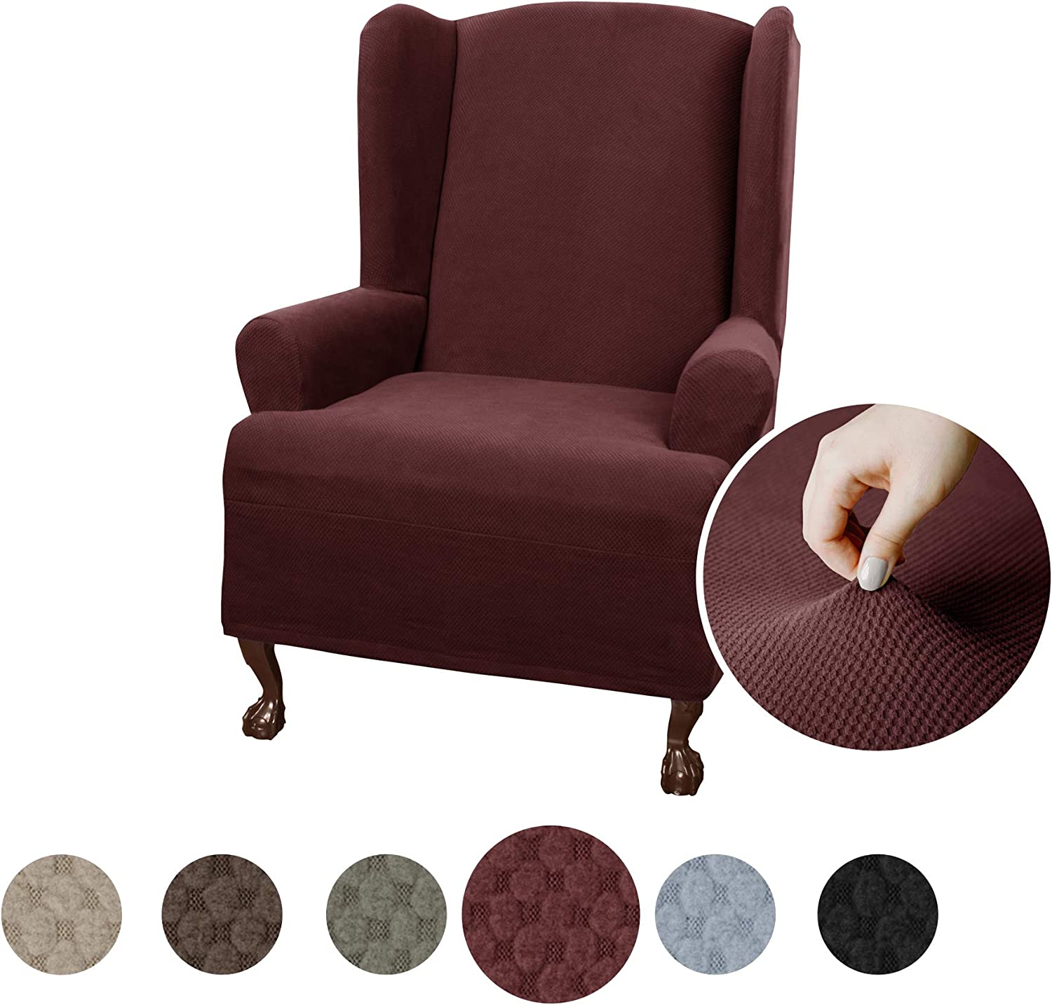 Maytex Pixel Ultra Soft Stretch Wing Back Arm Chair Furniture Cover Slipcover, Wine