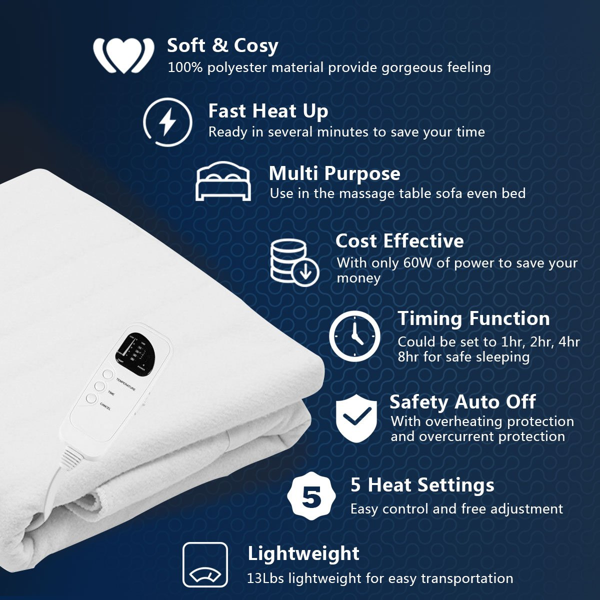 Five Heat Settings Giantex Massage Table Warmer Pad Digital Heat Settings Digital Timer Portable Auto Overheat Protection HW56271US