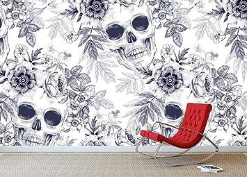 Murales 3D Cráneo Textura Papel de pared mural Mural Estampado de ...