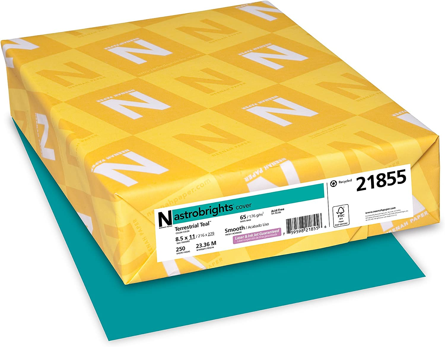 """Wausau Astrobrights Colored Cardstock, 8.5"""" x 11"""", 65 lb/176 GSM, Terrestrial Teal, 250 Sheets (21855)"""