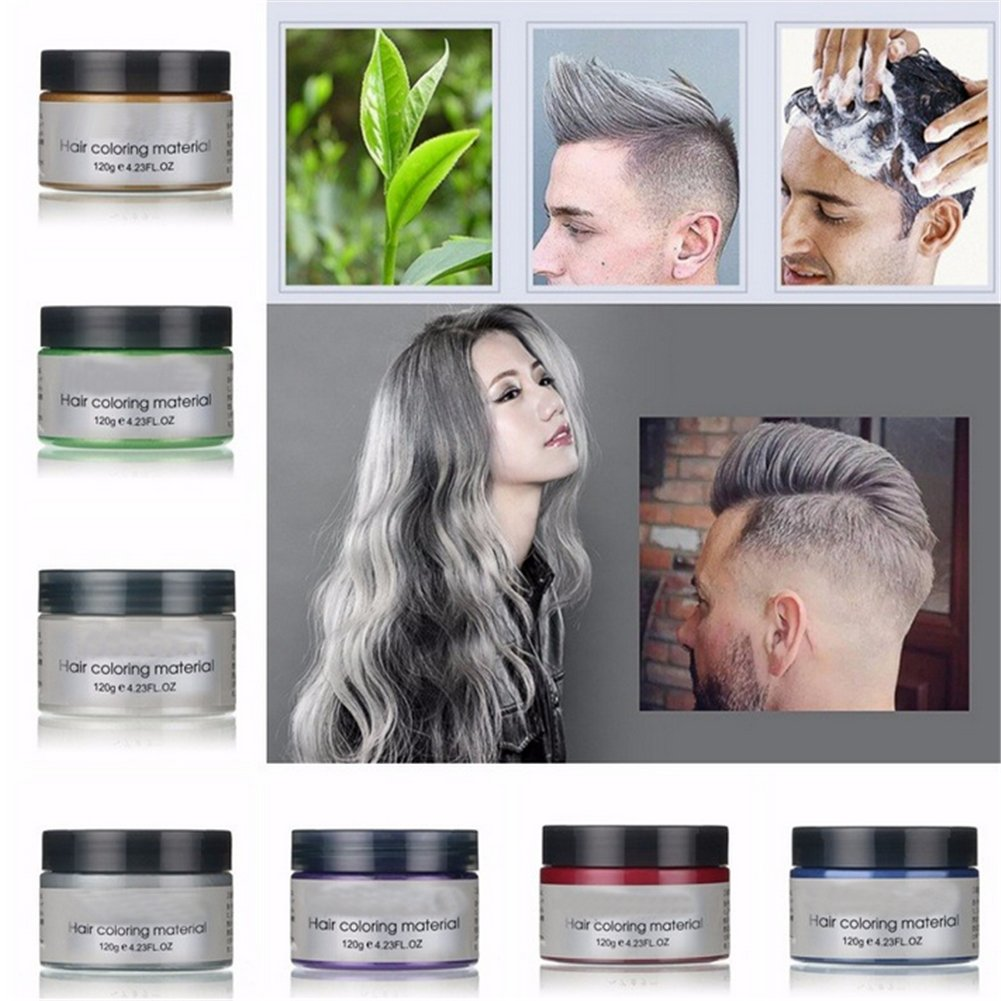 Harajuku Style Styling Products Hair Color Wax Dye One-time Molding Paste Seven Colors Hair Dye Wax Hair Dyes (Purple) Plovex