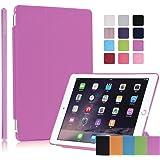 【液晶保護フィルム付】 Apple iPad mini4 専用ケーススマートカバー アップル アイパッドミニ4 バックケース 半透明 でロゴをアピール!スタンド機能 三つ折りタイプ (ピンク)