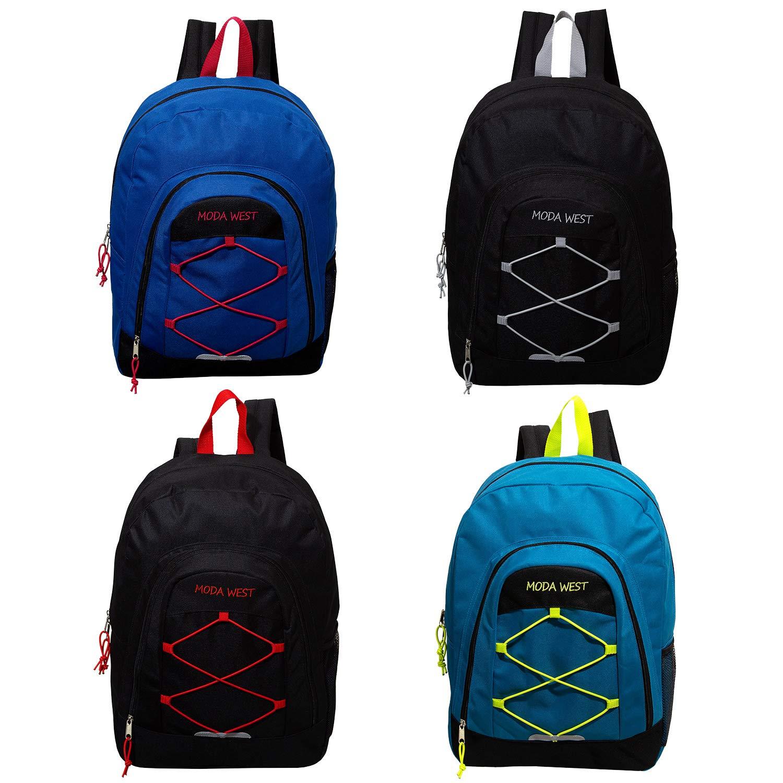 18'' Bulk Premium Bungee Sport Backpack in 4 Assorted Colors - Wholesale Case of 24 Bookbags