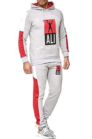 neue Produkte für besser marktfähig Herren Trainingsanzug Muhammad ALI Champion Sportanzug Jogginganzug Schwarz  Grau Weiss