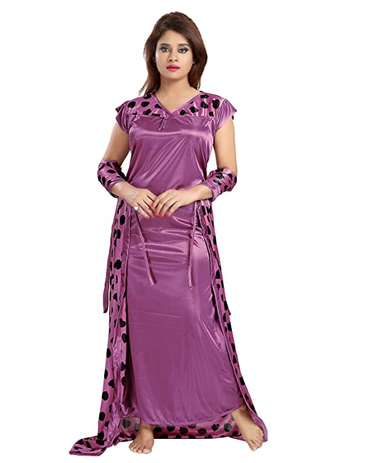 Be You Fashion Satin Purple Hearts Printed 2 Piece Nighty Set for Women   Amazon.in  Clothing   Accessories fa47ea229
