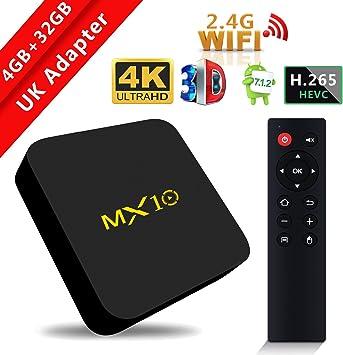 MX10 - Reproductor multimedia de transmisión SCS ETC, Android 7.1, memoria de 4 GB + 32 GB, compatible con Smart TV, WiFi de 2.4G, procesador Quad-Core 64bit, imagen 3D, 4K, HDRVideo: Amazon.es: Electrónica