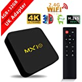 2018 Model SCS ETC Streaming Media Player, MX10 Android 7.1 TV Box 4GB + 32GB, Smart TV Box Support 2.4G Wifi Connected 64bit Quad-Core 3D 4K HDR Video Playing Smart TV Box (4GB Ram + 32GB Rom) - For UK Only