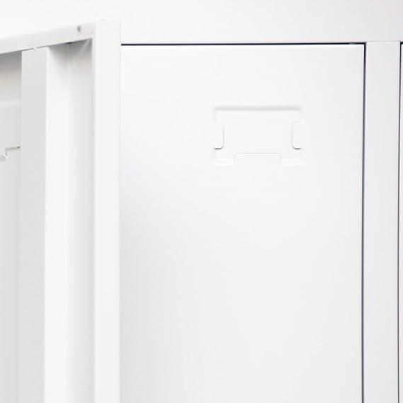 Gimansio Cerradura y Llave de 185x90x45cm para Vestuario Taquilla Metalica Blanca con Estanter/ía Oficina Perchero Supermercado Trabajo. Industria 3 Puertas, Blanco