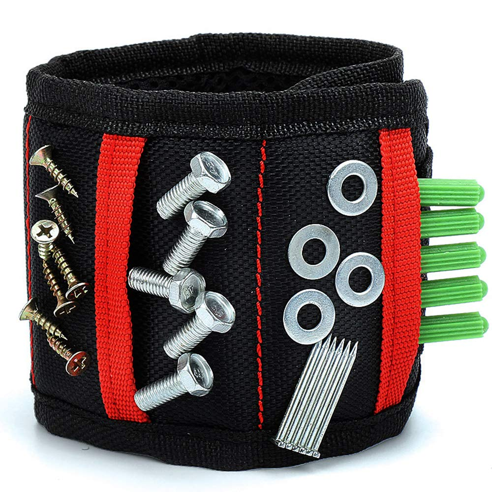 REEXBON Magnetische Armbä nder Magnetarmband mit 15 Starken Magneten fü r Holding Schrauben, Nä gel, Dü bel, Bohrungen und Kleine Metallwerkzeuge mit 2 Nä gel/Schrauben Taschen