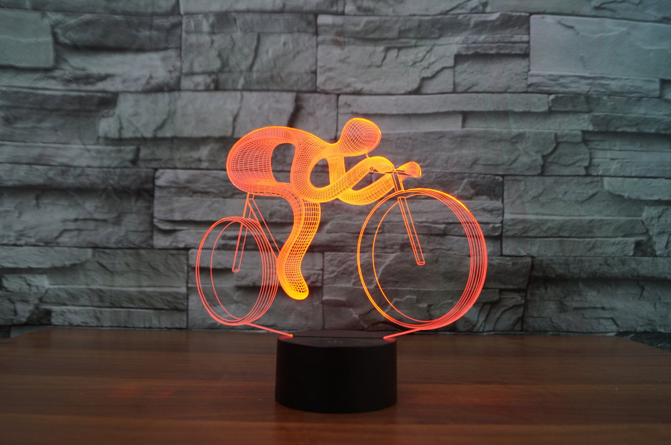 3D Optical Illusion LED Desk Lamp, 7 Color Changing with USB Cable Touch Button Night Light - Best Gift for Kids/Friends/Birthdays/Home Bedroom Decor Lighting (Bike)