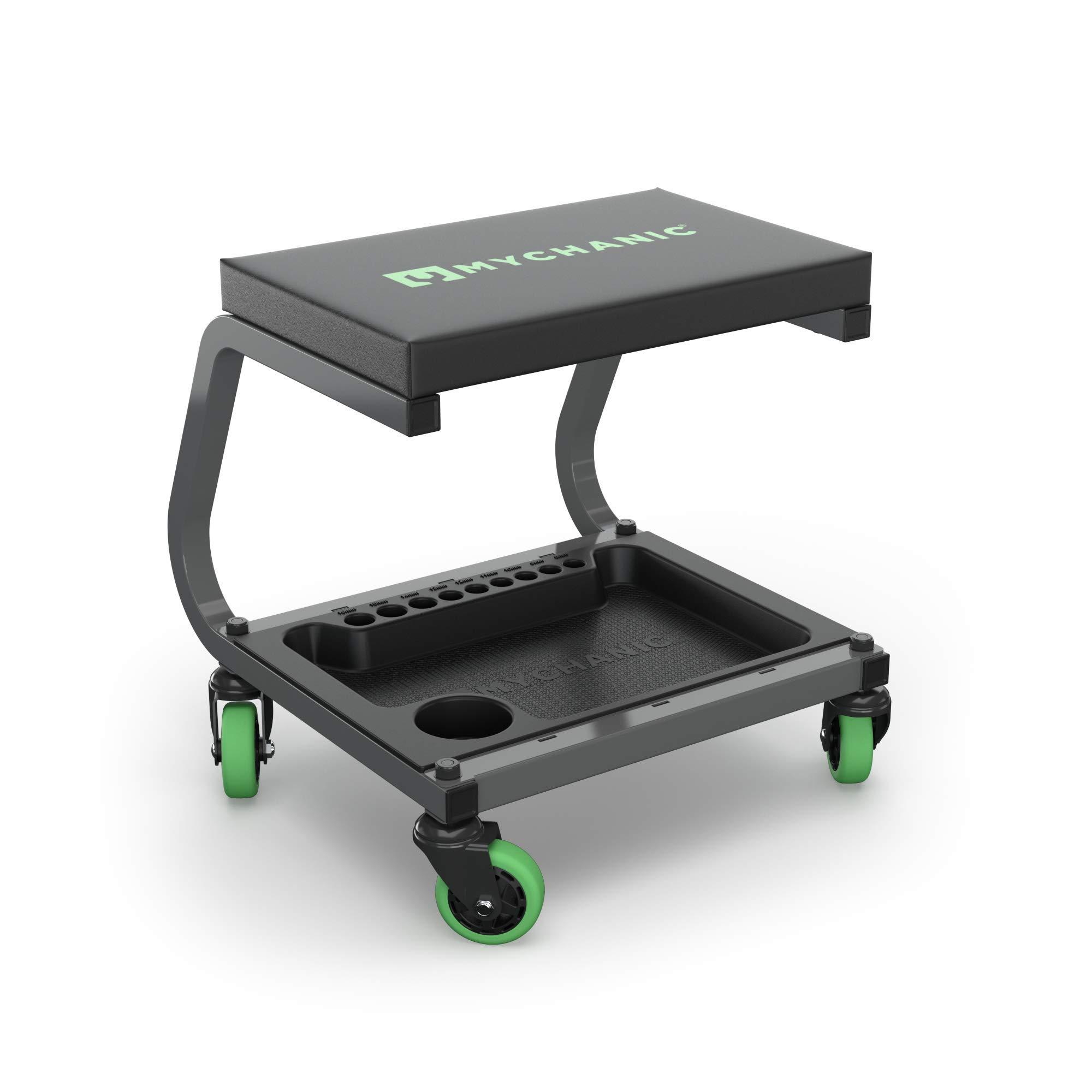 MYCHANIC Fastback Shop Stool | Padded Rolling Seat with Premium Casters and Storage Tray