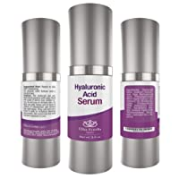 Hyaluronic Acid Serum for Face, 100% Pure Organic HA for Skin, Natural Aloe, Hydrating, Diminishes Fine Lines on Face & Eyes leaves Skin Full and Plump (2oz)
