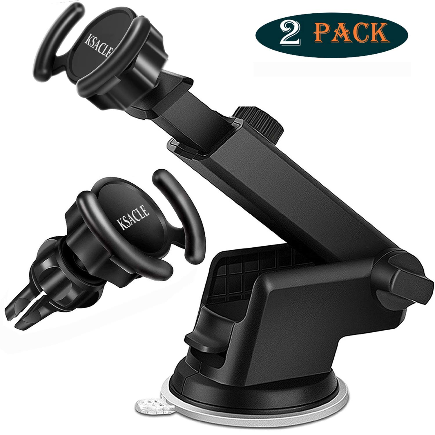 KSACLE Car Phone Mount, Phone Holder Pop Car Mount Air Vent Out Stand Car Mount, Universal Phone Holder for Car, 360 Degrees Dashboard Desk Wall Bracket for GPS Navigation and Any Smartphones