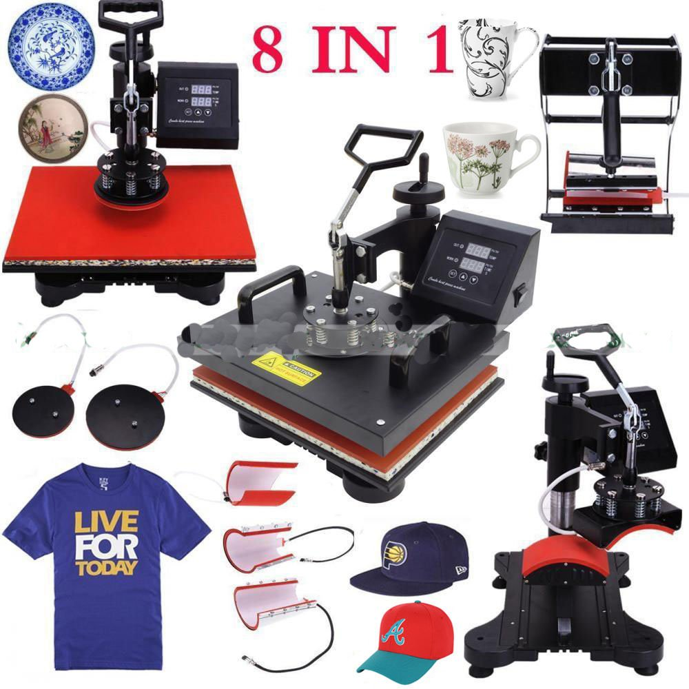 Iglobalbuy 8in1 T-shirt Digital Heat Press Machine Transfer Sublimation Hat Mug Cap Plate 15'' X 12'' by Iglobalbuy