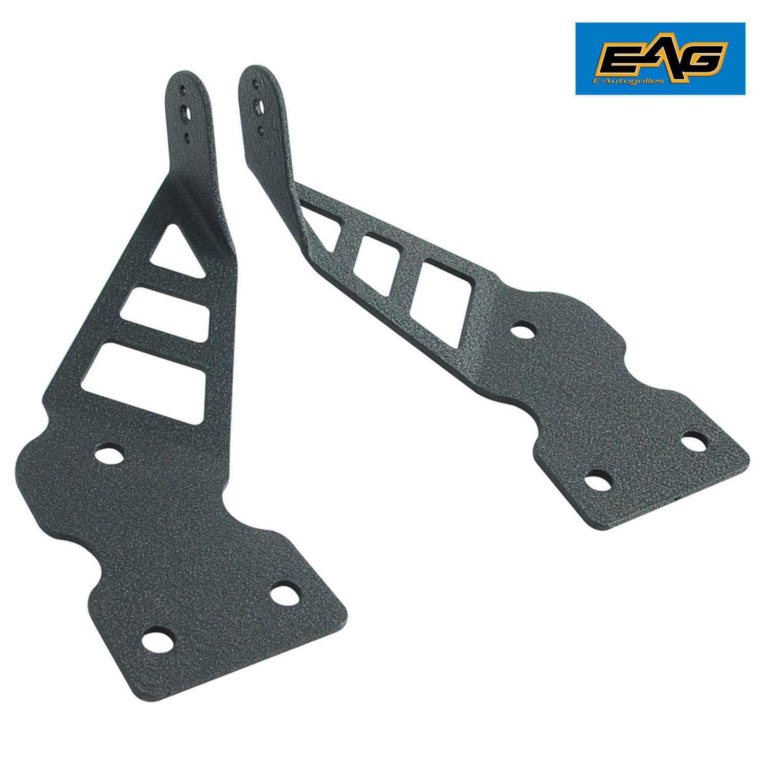 E-Autogrilles 97-06 Jeep Wrangler TJ Hood Black 20 LED Bar Mounting Brackets Pair EAG