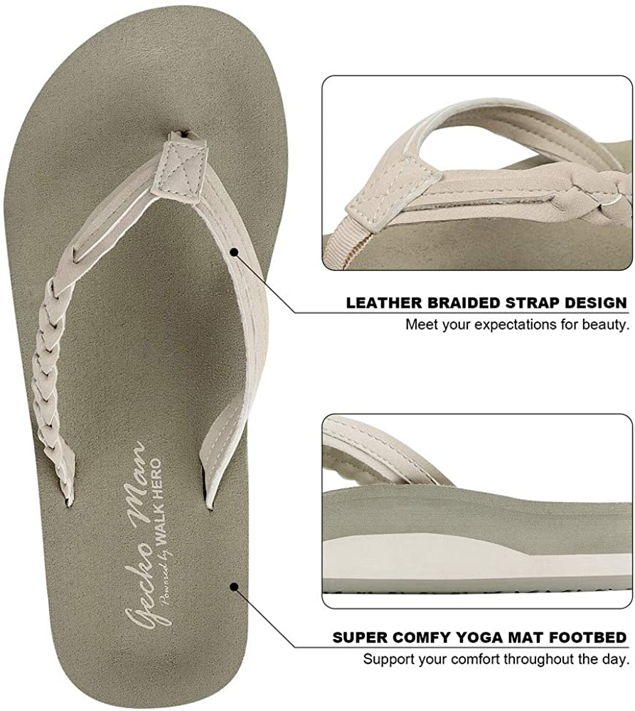 Yoga Mat Beach Sandals for Women Dressy Beach Flip Flops with Rubber Sole and Leather Straps Flip Flops for Women with Arch Support