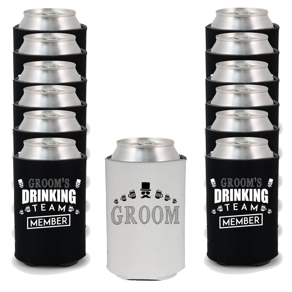 Shop4Ever Groom and Groom's Drinking Team 'Member' Can Coolie Wedding Drink Coolers Coolies (Member, Blk, 12 Pk) by Shop4Ever