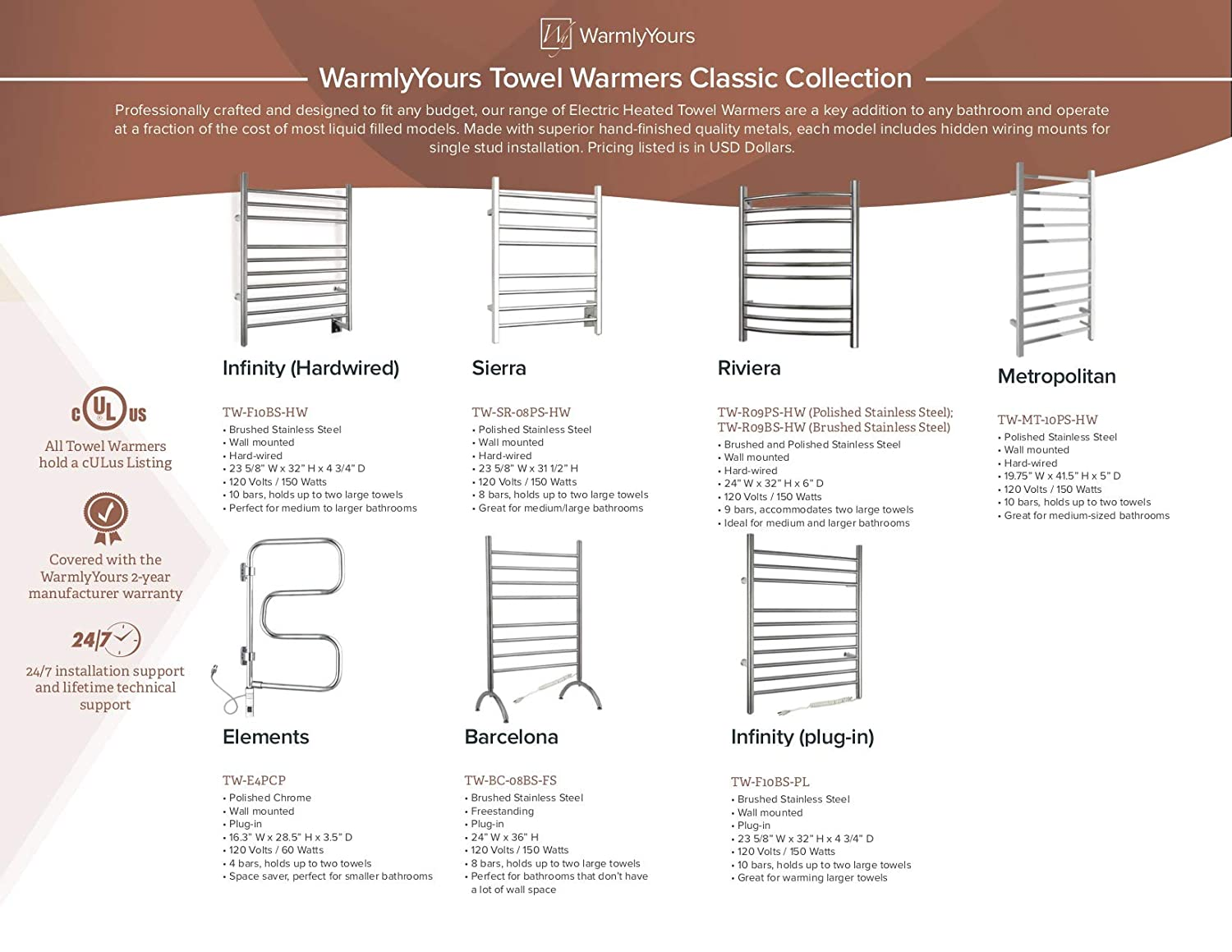 Warmlyyours 9 Bar Riviera Towel Warmer Hardwired Wiring Diagram Polished Stainless Steel Home Kitchen