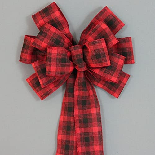 red black rustic plaid christmas bows 10
