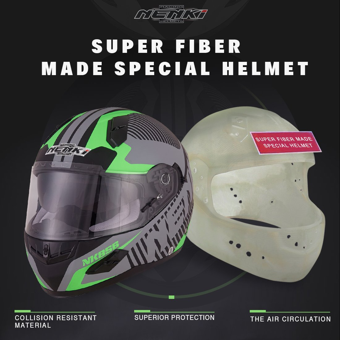 NENKI Helmets NK-856 Full Face Motorcycle Helmets ECE Approved With Dual Visors Large, Matt Black /& Orange