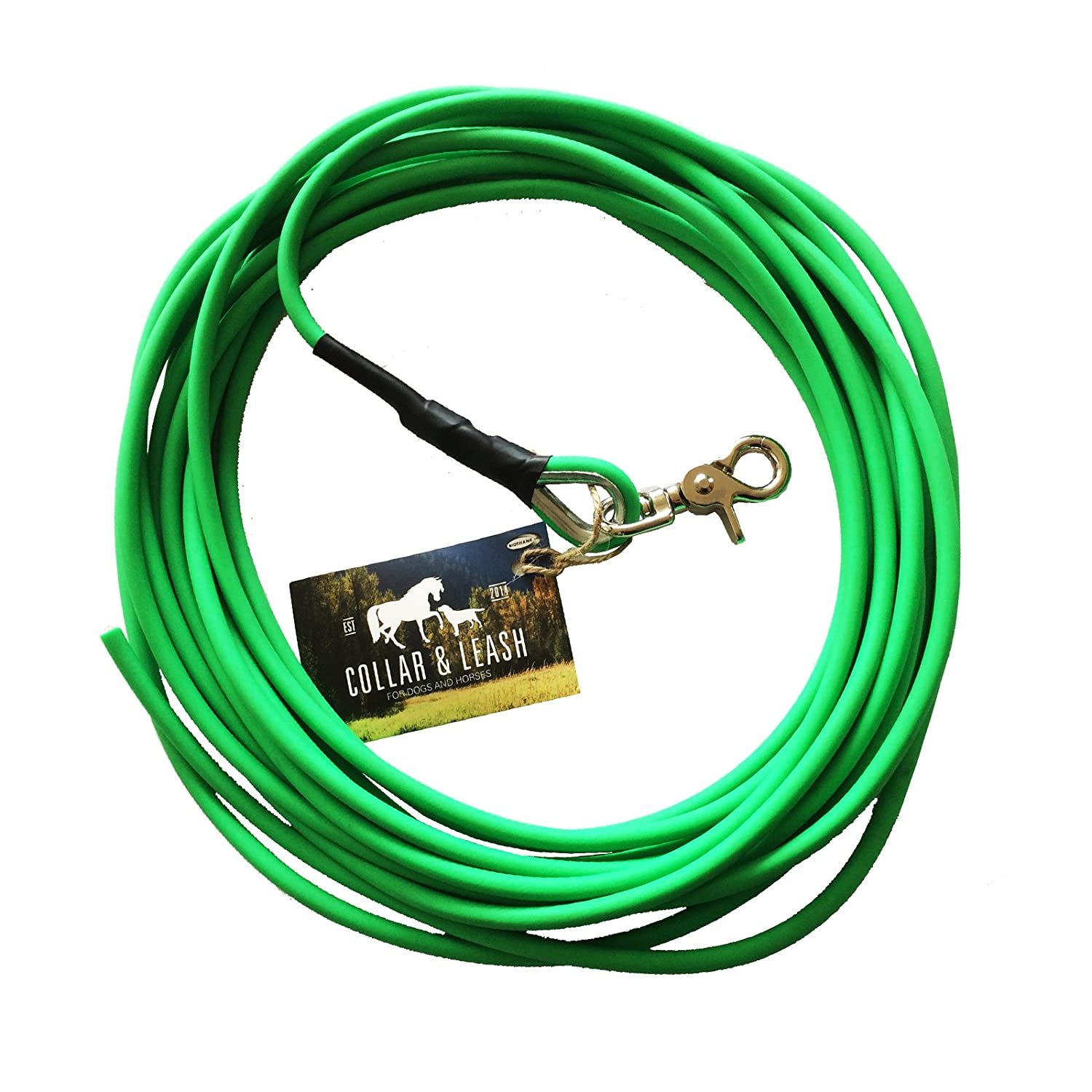 12 m Recall Lead 6 mm Round Biothane 1 m Neon Green Without Wrist Strap