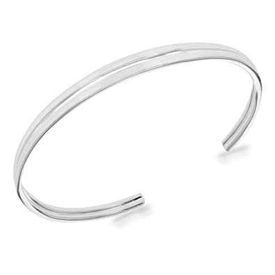 Elements Sterling Silver Ladies Double Wave Torque Bangle
