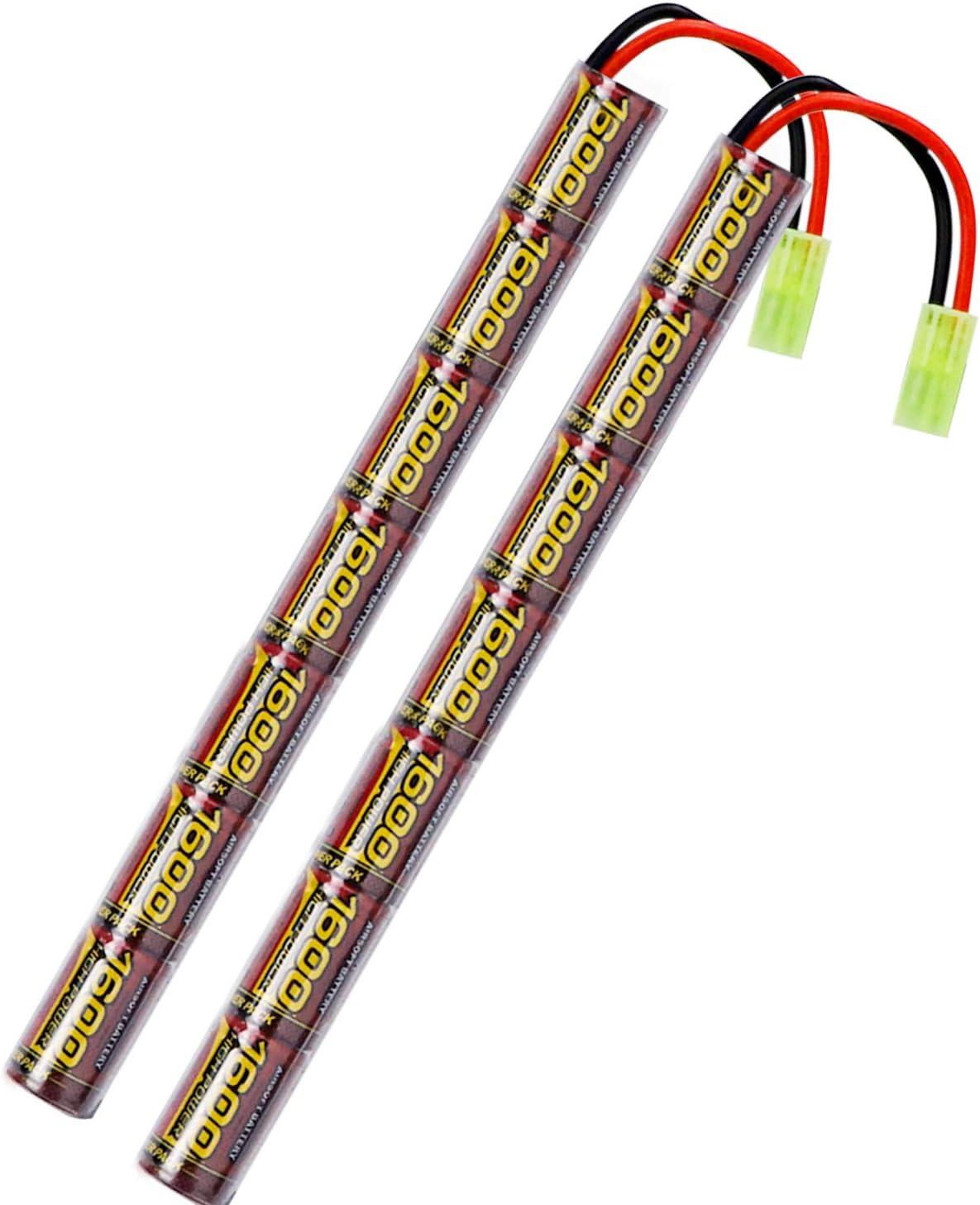 melasta 2pack 2 / 3A 8.4V NIMH Airsoft Batería 1600mAh Batería Tipo Stick con Conector Mini Tamiya para Pistola Airsoft AK47 MP5K RPK PKM