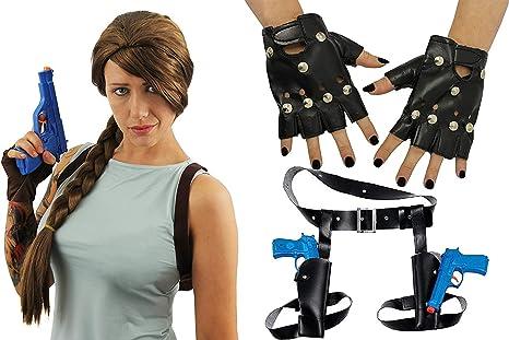 Temple Hunter Fancy Dress Wig Holsters Guns Gloves Kit Look Like Lara Croft