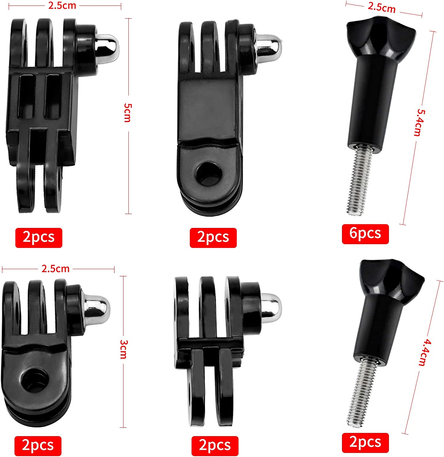 16 PCS 3 Way Mount Extension Arm Set for GoPro 3 in 1 Adjustable Pivot Arm Extension Thumb Knob Buckle Clip Basic Mount Extension Kit for SJCAM Hero Sports Camera