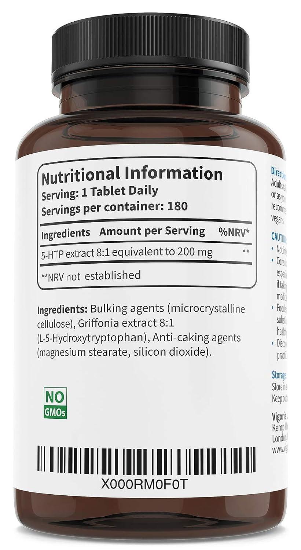 5-HTP 200 mg 180 comprimidos para 6 meses - Extracto natural puro 8:1 de Griffonia Simplicifolia - Favorece el sueño profundo el buen humor y la relajación ...