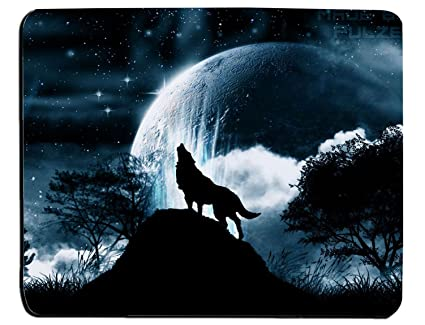 cf34044eb Amazon.com : Wolf Howling At The Moon Rectangle Mouse Pad ...