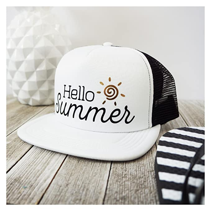 558a87f804f My Word Swag Hello Summer Mesh Trucker Snap Back Hat (Black White Panel Hat