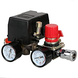 Secbolt 90-120PSI Air Compressor Pressure Control Switch with Pressure Regulator Gauges Safety Valve Fittings Set