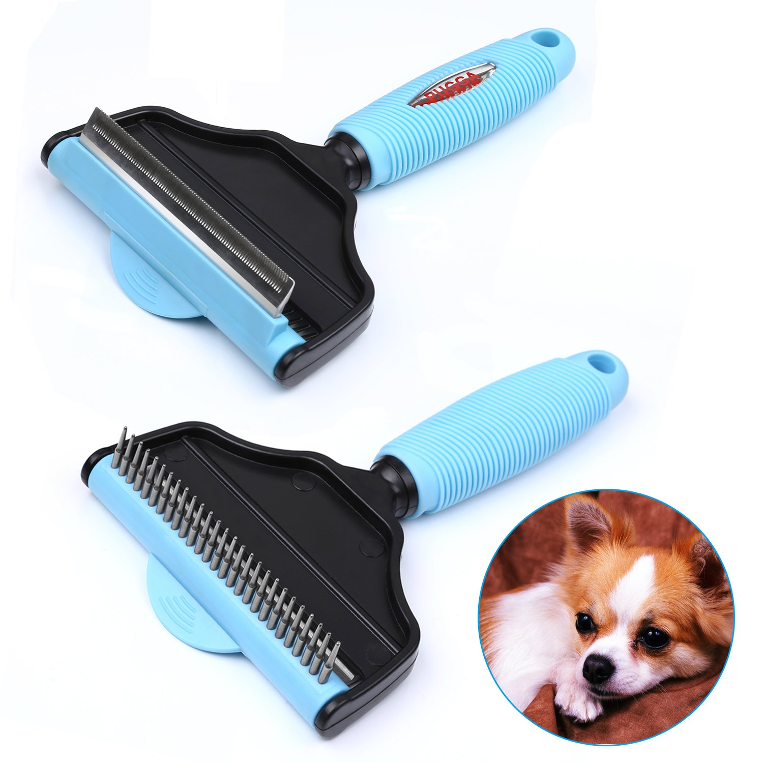 PEDY Pets Trimming Tool and Deshedding,2 in 1 Pet Grooming Brush & Rake, for Dogs Cats