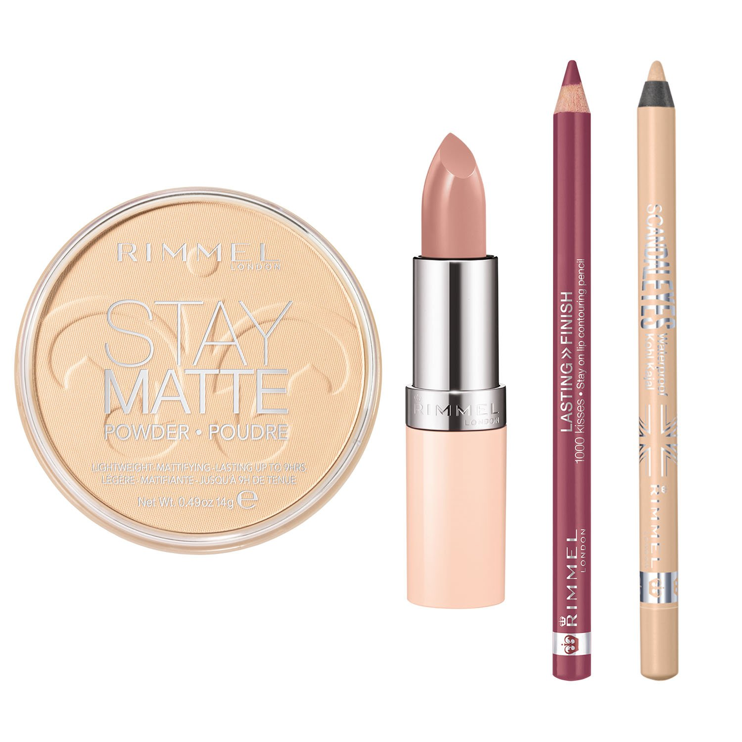 Rimmel Nude Collection Kit with Lasting Finish 1000 Kisses Lip Liner, Lasting Finish Nude Lipstick, Scandaleyes Waterproof Kohl Kajal Eyeliner and Stay Matte Pressed Powder, Multi