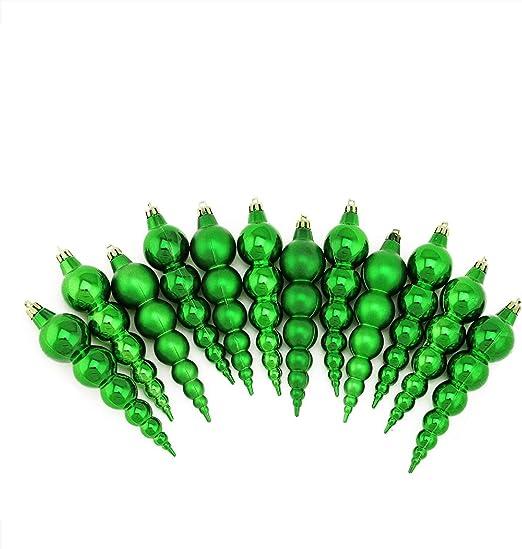"Northlight 12 Shiny Matte Xmas Green Finial Shatterproof Christmas Ornaments 6/"""