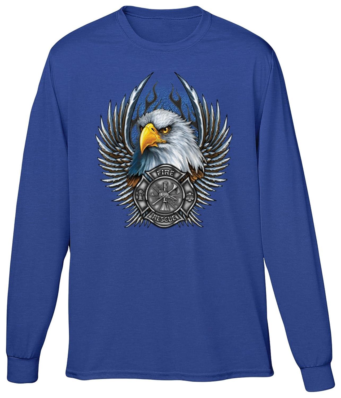 Blittzen Mens Long Sleeve T-shirt Fire Rescue Seal Bald Eagle