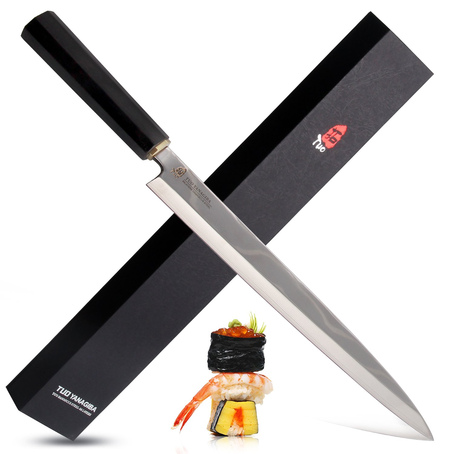 Tuo Cutlery New Damascus Yanagiba 10.5'' 34 Layers High Carbon Stainless Steel and Black Ebony Wood Handle with Case Sushi Knife Yanagi Raw Fish Slicing Knife