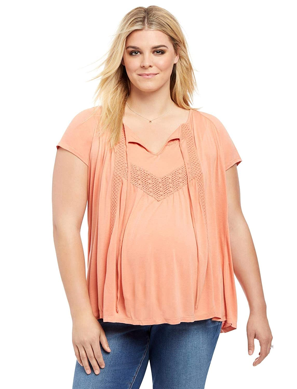 aaff7ca77c61b Motherhood Plus Size Lace Trim Maternity Blouse at Amazon Women's Clothing  store: