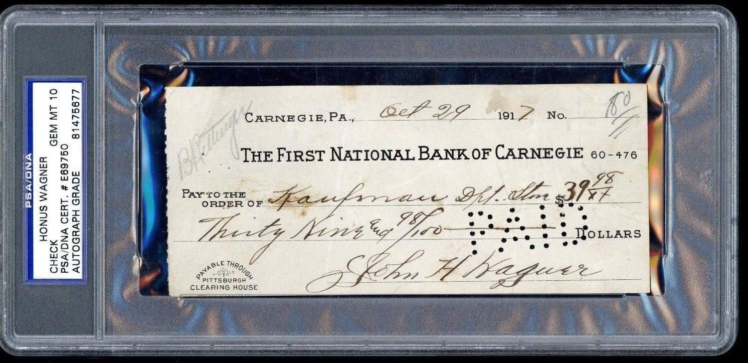 Honus Wagner Autographed Signed Check PSA/DNA Gem Mint 10 Autograph Kaufmann Dated 1917